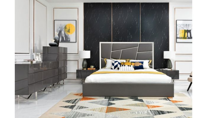Sharlet Gray Leather Bed Chrome Accent