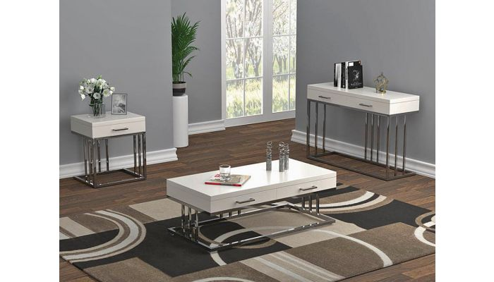Shelby White Lacquer Storage Coffee Table
