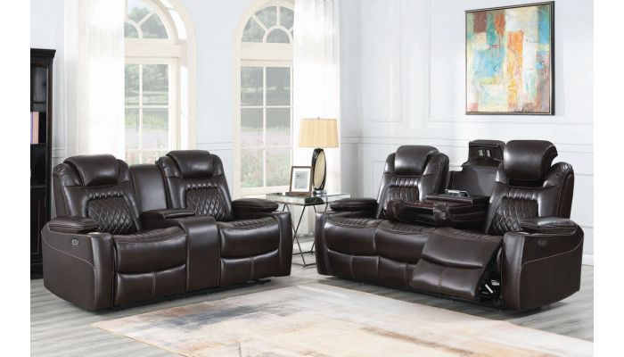 Shelly Espresso Leather Power Recliner Sofa