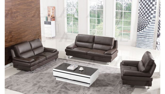 Sidon Dark Brown Genuine Leather Sofa