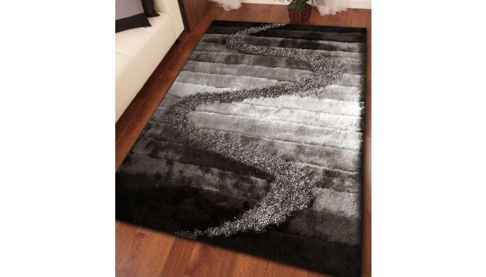 Silver and Grey Shaggy Rug Design 10