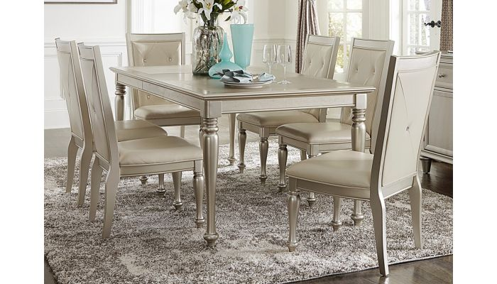 Silvert Silver Finish Dining Table Set