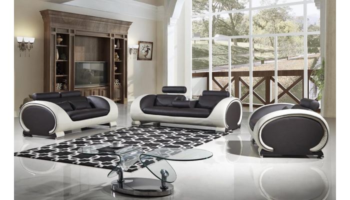 Skye Chocolate Leather Sofa Set,Skye Sofa With Drop Down Table