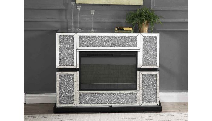 Sofia Mirrored Fireplace With Crystals