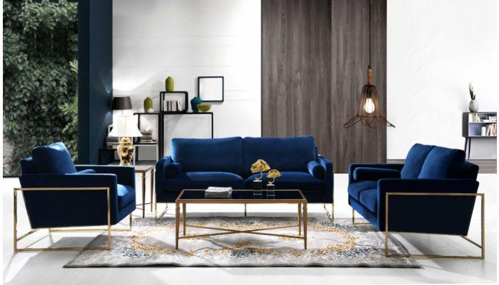 Sorrento Navy Velvet Sofa Set With Gold Base