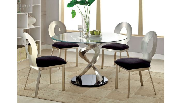 Spark Table With Oval Hole Chairs