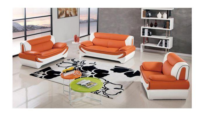 Sterling Orange Leather Modern Sofa