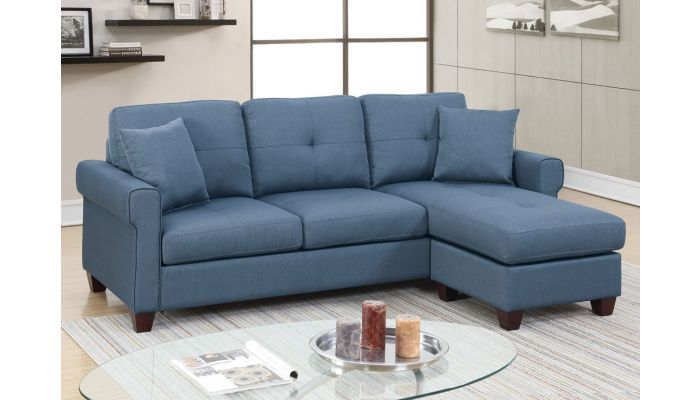 Stigall Blue Linen Reversible Sectional,Stigall Blue Linen Compact Sectional