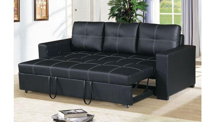 Stockton Black Leather Sofa Bed