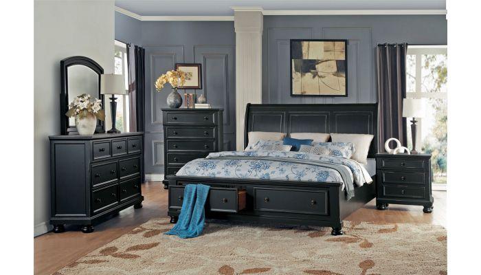 Sylvania Black Finish Storage Bed