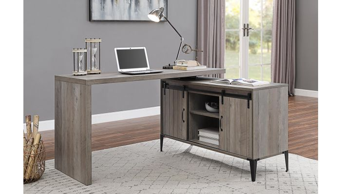 Tacna Rustic Grey Desk With Swivel Top