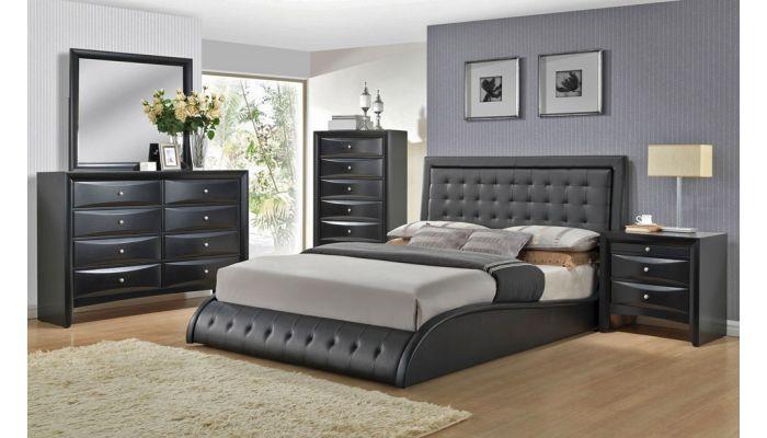 Talya Platform Black Leather Bed
