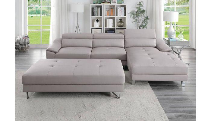 Tarryn Grey Leather Modern Sectional