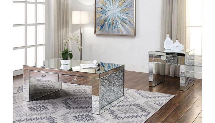 Temptation Mirrored Coffee Table With Drawers