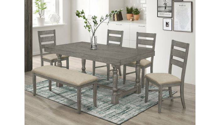 Teryn Rustic Grey Dining Room Table Set
