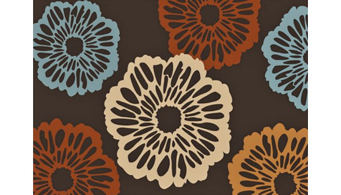 Modern Floral Design Rug TF 69 Brown