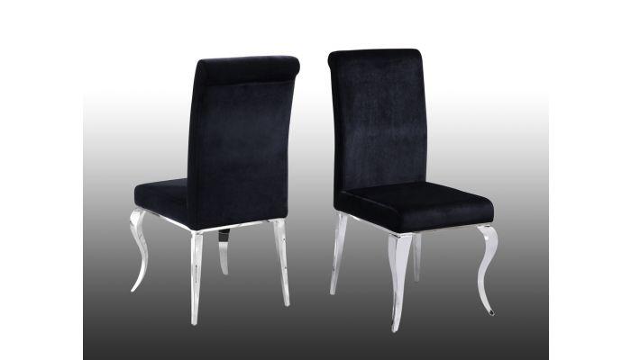 Theresa Black Velvet Dining Chairs, Black Velvet Dining Room Chairs