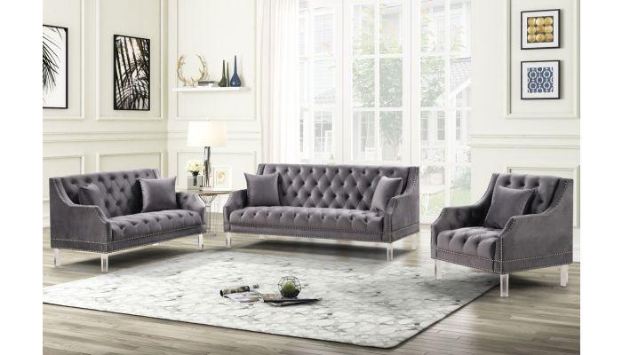 Tirrel Grey Velvet Modern Sofa Set
