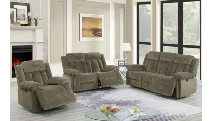 Tomas Tan Chenille Power Recliner Sofa Set