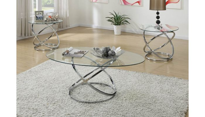 Tower Modern Glass Top Coffee Table Set