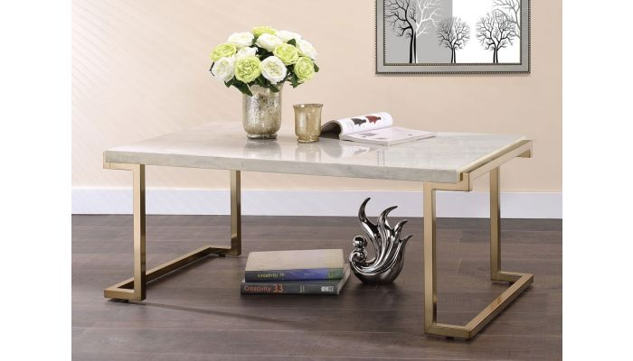 Travis Coffee Table Champagne Finish