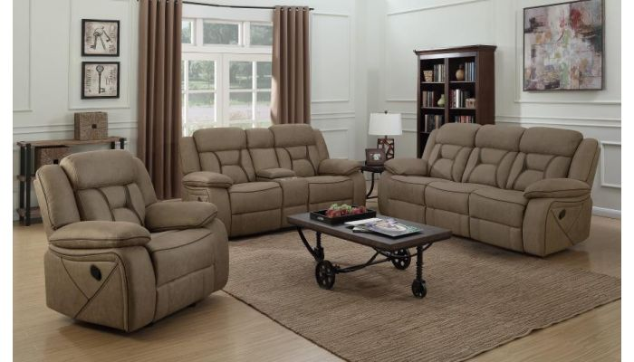 Troy Tan Suede Modern Recliner Sofa