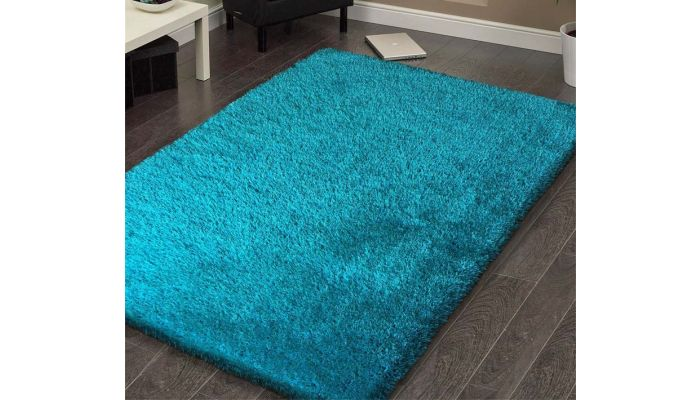 Shaggy Viscose Solid Turquoise Area Rug