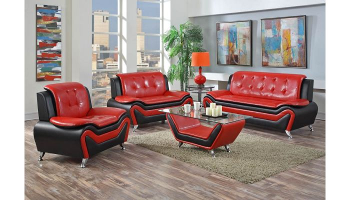 Udell Red Black Modern Living Room