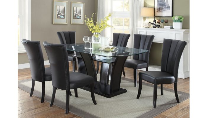 Upland Formal Glass Top Dining Table, Glass Top Dining Room Table