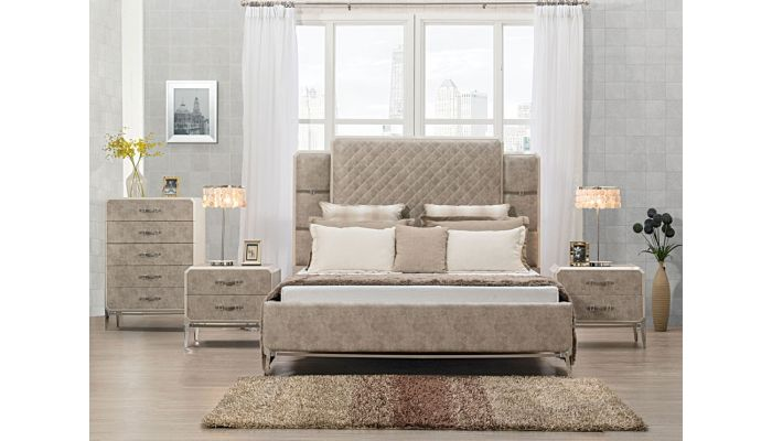 Valda Vintage Beige Leather Bed