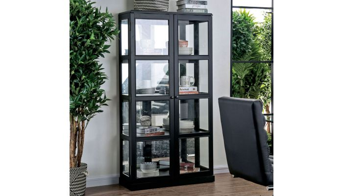 Valeria Curio Cabinet Black Finish