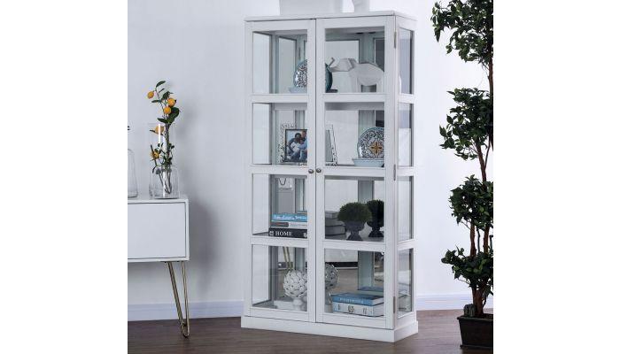 Valeria White Curio Cabinet Display