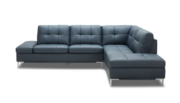 Valur Blue Leather Storage Sectional