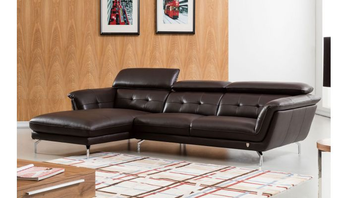 Varda Chocolate Leather Modern Sectional