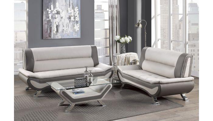 Velia Beige Leather Modern Sofa