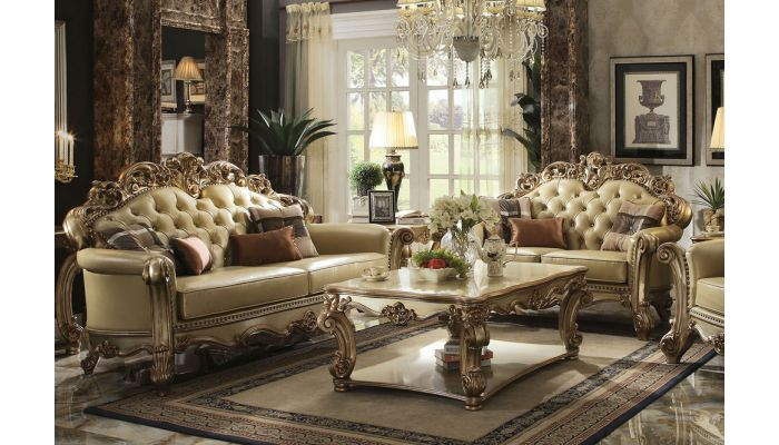 Vendome Patina Gold Leather Sofa Collection