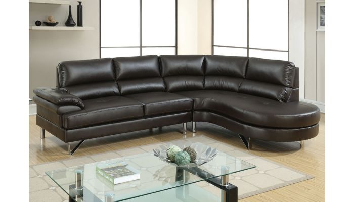 Versa Espresso Leather L Shape Sofa