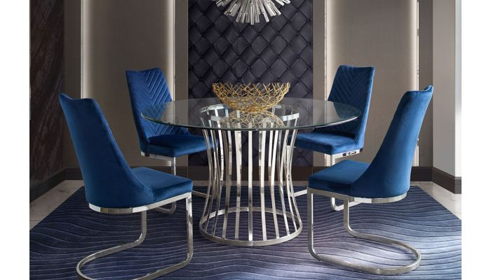 Enjoyable Vion Round Glass Dining Table Set Alphanode Cool Chair Designs And Ideas Alphanodeonline