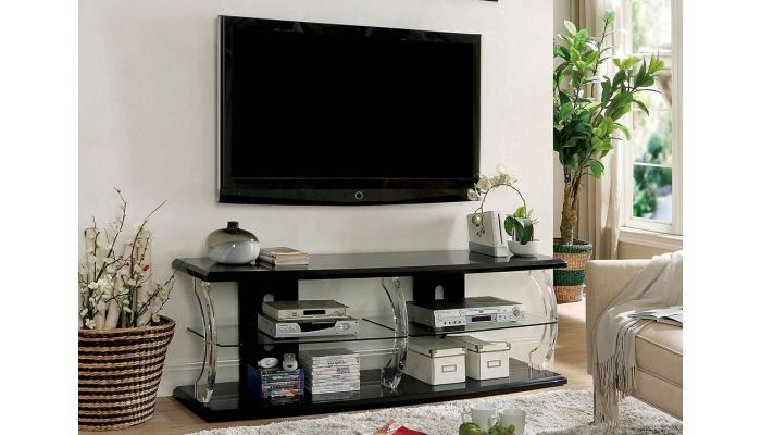 Viper Black Lacquer TV Stand With LED Lights