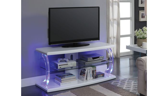 Viper White TV Stand With LED Lights