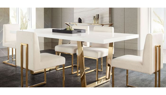 Visalia White Lacquer Dining Table, White Lacquer Dining Room Chairs
