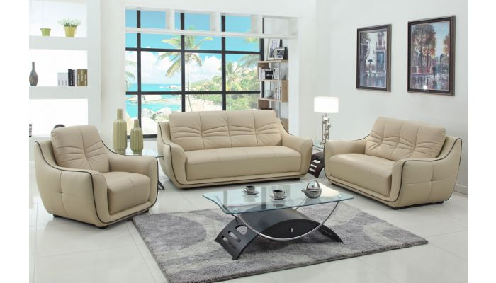 Volos Beige Leather Modern Sofa
