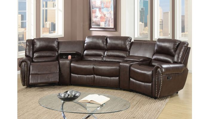 Wales Brown Leather Theater Recliner Set