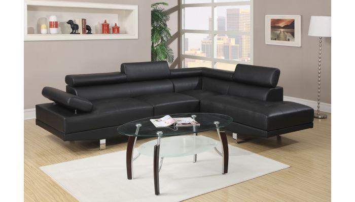 Warren Black Leather Modern Sectional