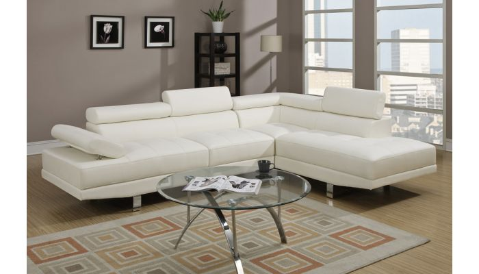 Warren Leather Modern Sectional Sofa