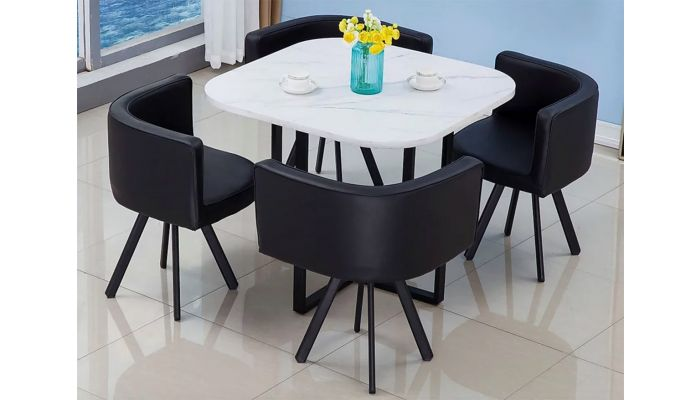 Watt Faux Marble Top Dining Table Set