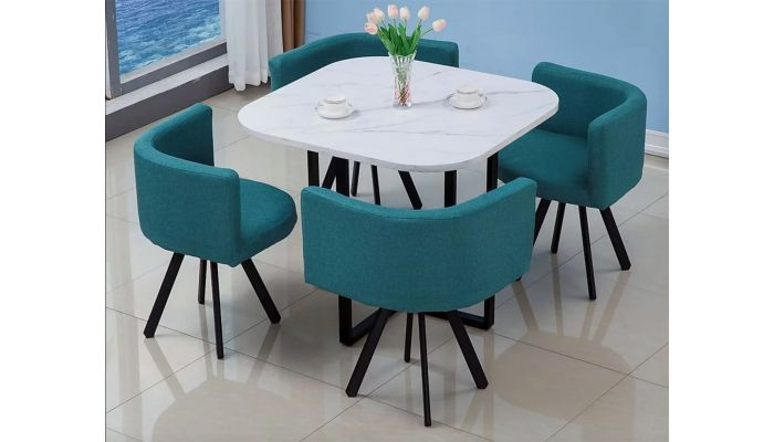 Watt Marble Top Modern Dining Table Set