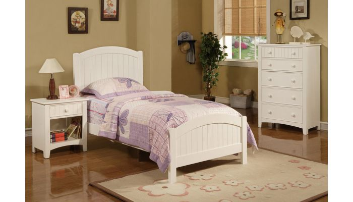 Paskal Twin Size White Wooden Bed