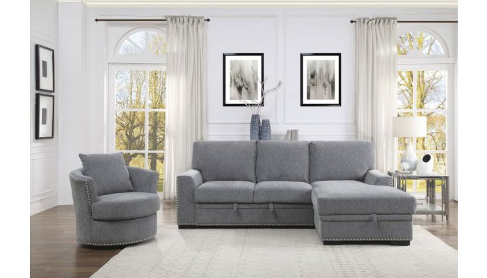 Willex Sectional Sleeper Grey Chenille