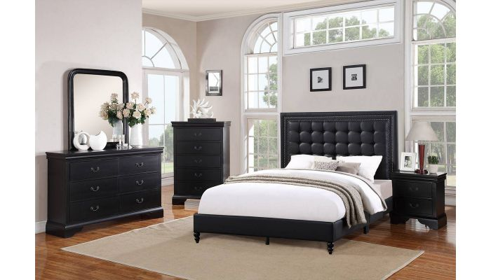William Tufted Black Leather Bed